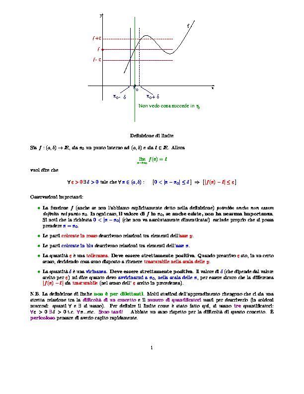 Limite Finito Per X Che Tende A Un Valore Finito.Qualche Appunto Di Analisi Matematica 1
